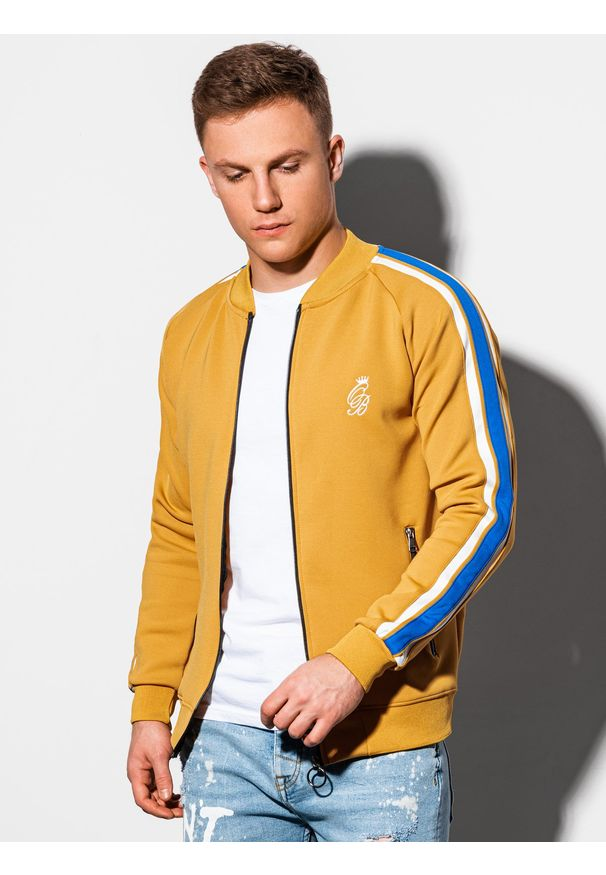 Żółta bluza Ombre Clothing na lato, bez kaptura, retro