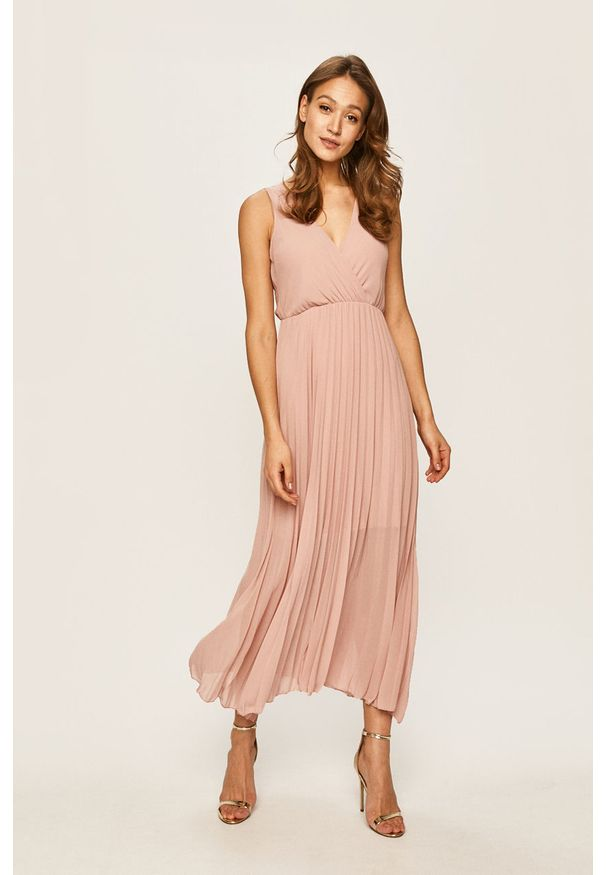 Różowa sukienka Haily's maxi, rozkloszowana, bez rękawów