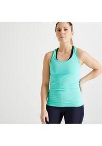DOMYOS - Top fitness MY TOP. Kolor: zielony. Materiał: elastan, poliester, materiał. Sport: fitness