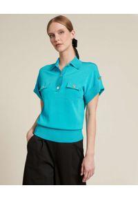 Luisa Spagnoli - LUISA SPAGNOLI - Niebieska koszulka polo z kieszeniami Carato. Typ kołnierza: polo. Kolor: niebieski. Materiał: prążkowany. Sezon: wiosna. Styl: sportowy, wakacyjny