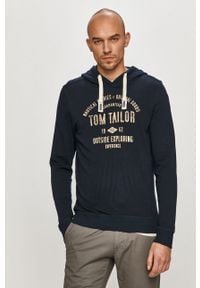 Niebieska bluza nierozpinana Tom Tailor z kapturem, z nadrukiem, na co dzień, casualowa