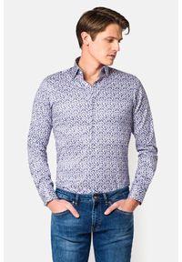 Lancerto - Koszula z Nadrukiem Laguardia. Materiał: bawełna, tkanina, jeans. Wzór: nadruk