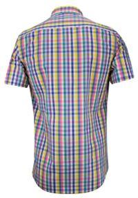 Wielokolorowa elegancka koszula Rey Jay krótka, z krótkim rękawem, w kratkę