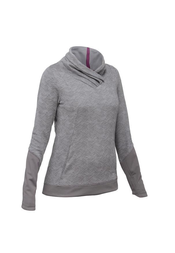 quechua - Sweter turystyczny | NH500 damski. Kolor: szary. Materiał: bawełna, materiał, poliester. Długość: długie
