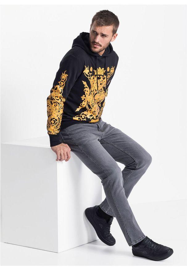 Czarna bluza bonprix z nadrukiem, z kapturem