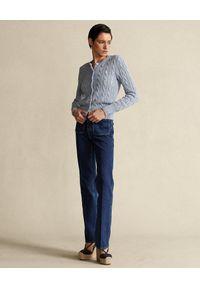 Ralph Lauren - RALPH LAUREN - Jasnoniebieski kardigan Straight fit. Typ kołnierza: polo. Kolor: niebieski. Materiał: bawełna. Długość rękawa: długi rękaw. Długość: długie. Wzór: ze splotem