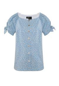 CATERINA - Błękitna bluzka z kokardami. Typ kołnierza: kokarda. Kolor: niebieski. Materiał: tkanina, bawełna. Wzór: grochy. Sezon: lato