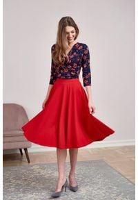 Marie Zélie - Spódnica Farin wiśniowa. Kolor: czerwony. Materiał: jersey, bawełna, dzianina, materiał, elastan, skóra, guma