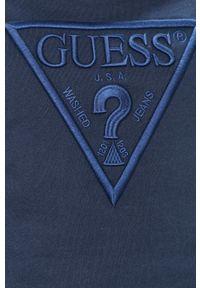 Niebieska bluza nierozpinana Guess raglanowy rękaw, na co dzień, z aplikacjami