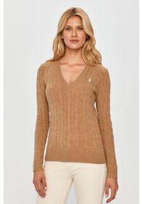 Beżowy sweter Polo Ralph Lauren na co dzień, polo, casualowy