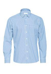 Niebieska koszula VEVA z klasycznym kołnierzykiem, długa, w paski