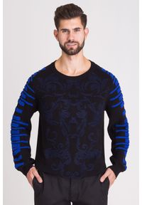 Sweter Versace Jeans w kolorowe wzory, z okrągłym kołnierzem