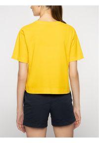 Napapijri T-Shirt Sait Cropped N0YINT Żółty Oversize. Kolor: żółty