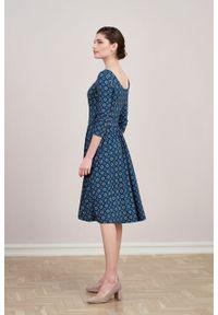 Marie Zélie - Sukienka Limosa Beatica niebieska. Kolor: niebieski. Materiał: wiskoza, dzianina, materiał, elastan. Długość: midi