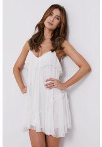 Biała sukienka Nissa rozkloszowana, mini, gładkie