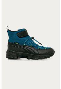 Niebieskie buty zimowe Puma z okrągłym noskiem, na rzepy