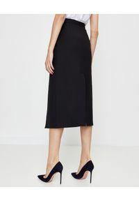 Pinko - PINKO - Czarna spódnica midi Monsone. Okazja: do pracy, na spotkanie biznesowe. Kolor: czarny. Materiał: materiał, wełna. Styl: biznesowy, elegancki