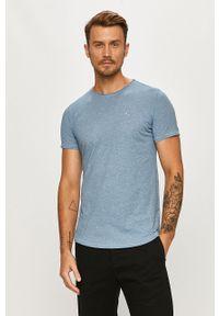 Niebieski t-shirt Tommy Jeans casualowy, na co dzień, melanż, z okrągłym kołnierzem