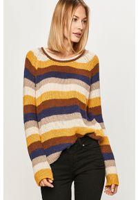 Vila - Sweter. Kolor: żółty. Długość rękawa: raglanowy rękaw