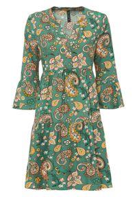 Sukienka koszulowa w deseń paisley bonprix zielony laurowy w deseń paisley. Kolor: zielony. Wzór: paisley. Typ sukienki: koszulowe