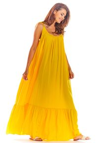 Żółta sukienka rozkloszowana Awama na lato, maxi