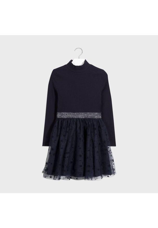 Mayoral Sukienka elegancka 7960 Granatowy Regular Fit. Kolor: niebieski. Styl: elegancki