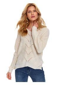 Beżowy sweter TOP SECRET do pracy, z długim rękawem, na wiosnę, z dekoltem w serek