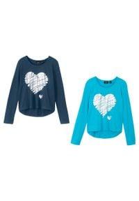 Shirt dziewczęcy z długim rękawem (2 szt.) bonprix turkusowy + ciemnoniebieski. Kolor: niebieski. Długość rękawa: długi rękaw. Długość: długie. Wzór: nadruk