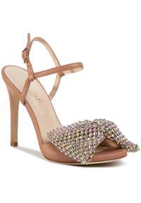 Różowe sandały Loriblu eleganckie, z aplikacjami