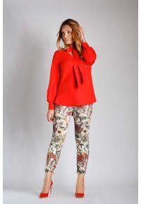 Czerwona bluzka z długim rękawem Nommo elegancka, plus size