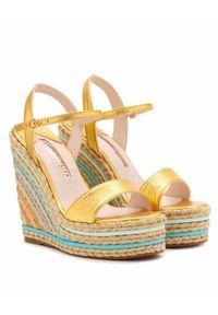 SOPHIA WEBSTER - Sandały na koturnie Lucita. Zapięcie: pasek. Kolor: niebieski. Materiał: materiał. Wzór: paski. Obcas: na koturnie