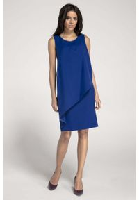 Nommo - Ołówkowa Kobaltowa Sukienka z Asymetryczną Nakładką. Kolor: niebieski. Materiał: wiskoza, poliester. Typ sukienki: asymetryczne, ołówkowe