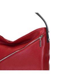 Czerwona torebka worek Wittchen elegancka, z haftem, w kropki