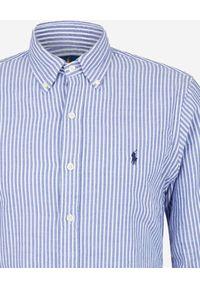 Ralph Lauren - RALPH LAUREN - Koszula w paski Classic Fit. Typ kołnierza: polo. Kolor: biały. Materiał: bawełna. Długość rękawa: długi rękaw. Długość: długie. Wzór: paski. Styl: klasyczny
