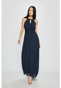 Vila - Sukienka. Kolor: niebieski. Materiał: tkanina, koronka. Typ sukienki: rozkloszowane
