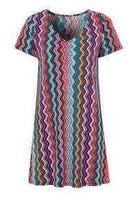 Tunika Cellbes krótka, klasyczna, w kolorowe wzory, z dekoltem w serek
