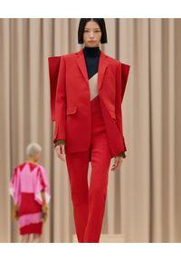 Burberry - BURBERRY - Czerwona marynarka z wełny. Kolor: czerwony. Materiał: wełna