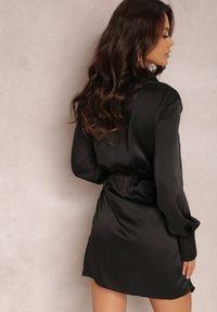 Renee - Czarna Sukienka Barbima. Kolor: czarny. Materiał: tkanina. Długość rękawa: długi rękaw. Długość: mini