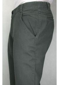 Chiao - Popielate Eleganckie, Męskie Spodnie, 100% BAWEŁNA -CHIAO- Chinosy, Szare. Kolor: szary. Materiał: bawełna. Styl: elegancki