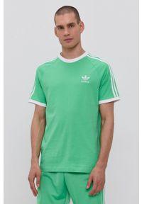 adidas Originals - T-shirt bawełniany. Okazja: na co dzień. Kolor: zielony. Materiał: bawełna. Długość rękawa: raglanowy rękaw. Wzór: gładki. Styl: casual
