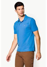Niebieska koszulka polo Lancerto polo, w kolorowe wzory, klasyczna