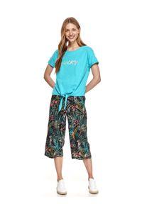 DRYWASH - T-shirt damski z krótkim rękawem i wiązaniem. Kolor: czarny. Materiał: bawełna, tkanina. Długość rękawa: krótki rękaw. Długość: krótkie. Wzór: napisy. Sezon: lato. Styl: wakacyjny