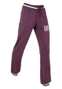 Fioletowe spodnie bonprix sportowe, długie, z nadrukiem