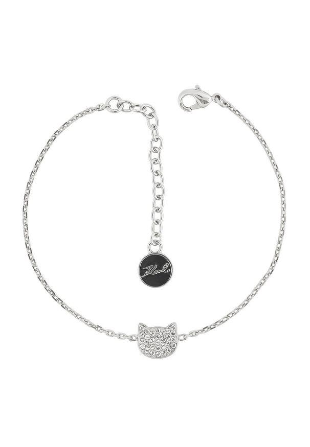 Srebrna bransoletka Karl Lagerfeld z aplikacjami, z kryształem, metalowa