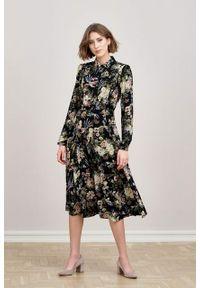 Marie Zélie - Sukienka Colette Phoenix czarna. Kolor: czarny. Materiał: wiskoza, skóra, materiał. Długość rękawa: długi rękaw. Wzór: gładki. Typ sukienki: szmizjerki. Styl: elegancki. Długość: midi