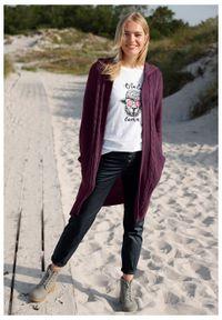 Fioletowy sweter bonprix długi, z kapturem