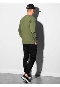Ombre Clothing - Bluza męska bez kaptura B1153 - khaki - XXL. Typ kołnierza: bez kaptura. Kolor: brązowy. Materiał: bawełna, jeans, poliester. Styl: klasyczny, elegancki