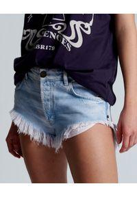 ONETEASPOON - Szorty jeansowe Rollers. Stan: obniżony. Kolor: niebieski. Materiał: jeans. Wzór: aplikacja