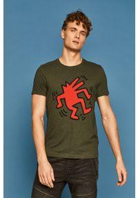 Brązowy t-shirt medicine street, z nadrukiem, na co dzień
