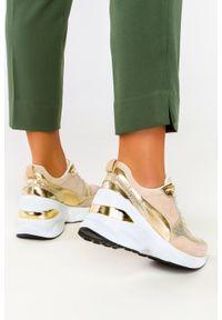 Filippo - Beżowe sneakersy filippo skórzane buty sportowe sznurowane dp2056/21be go. Kolor: beżowy. Materiał: skóra